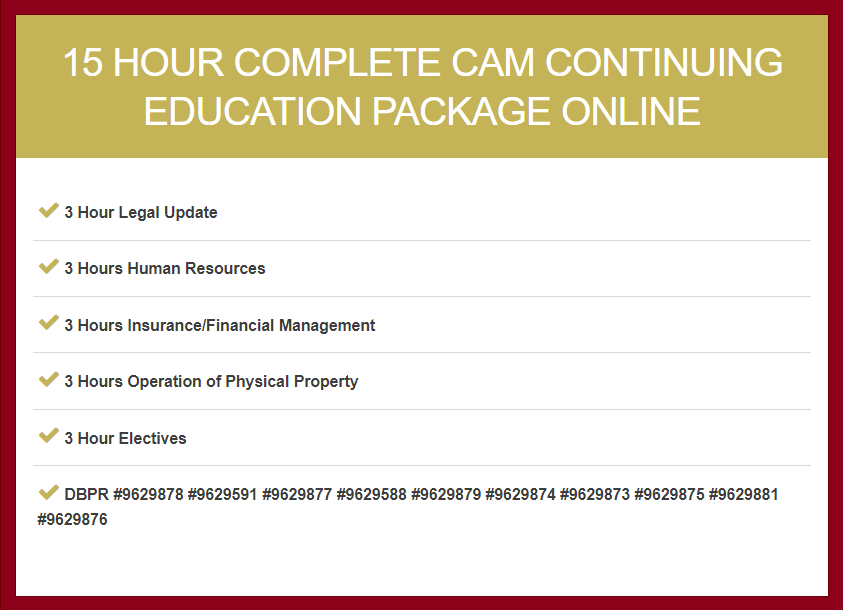 15 Hour Complete CAM Continuing Education Package
